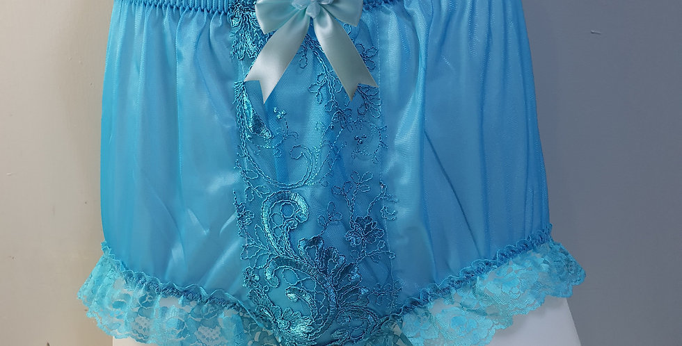 New Light Blue Nylon Briefs Men Panel Floral Lace Panties Handmade Knicker NPN12