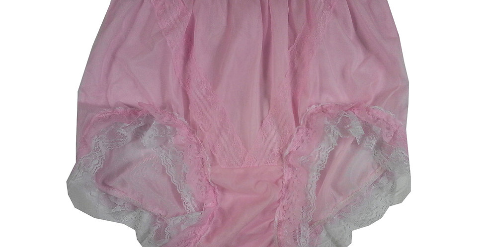 SSH05D08 Pink Handmade Nylon Panties Lace Women Granny Men Briefs
