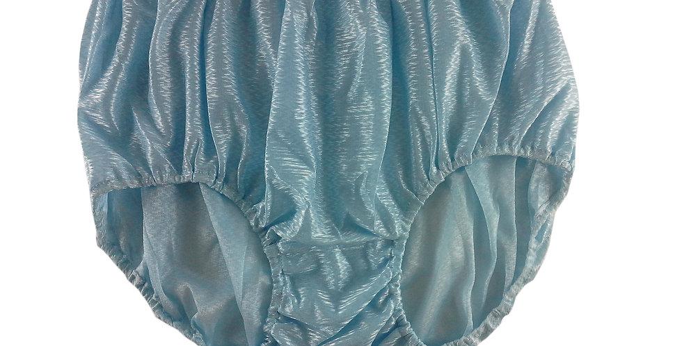 SF01 Fair Blue Silky Nylon Panties Women Vintage Granny HI-CUTS Briefs Undies