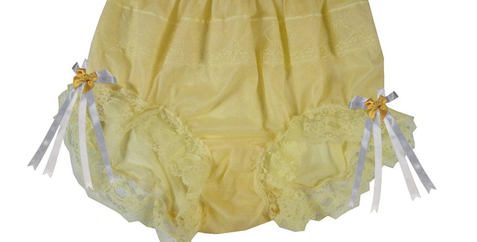 JYH17D10 Yellow Handmade Nylon Panties Women Men Lace Knickers Briefs