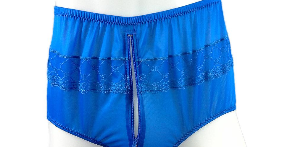 JYH03P06 blueHandmade Nylon Panties Women Men Lace Knickers Briefs
