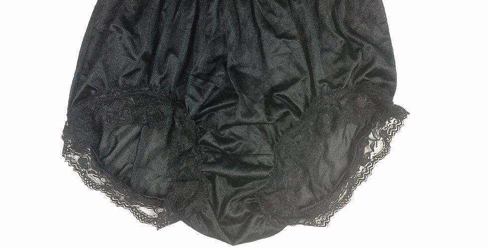 NQH07D07 Black Panties Granny Briefs Nylon Handmade Lace Men Woman