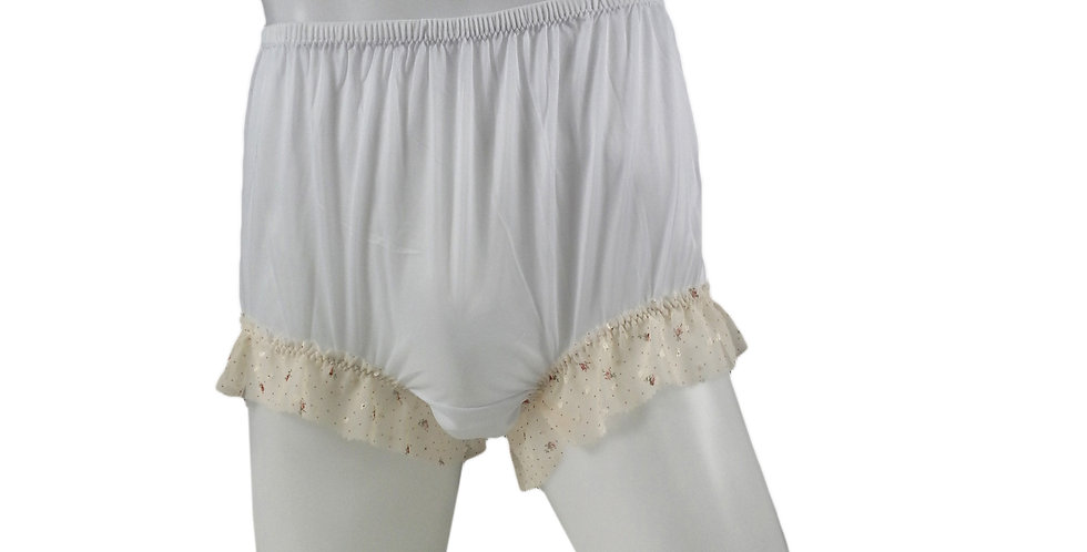 NNH04D14 White Handmade Nylon Panties Granny Briefs Lingerie Women Man