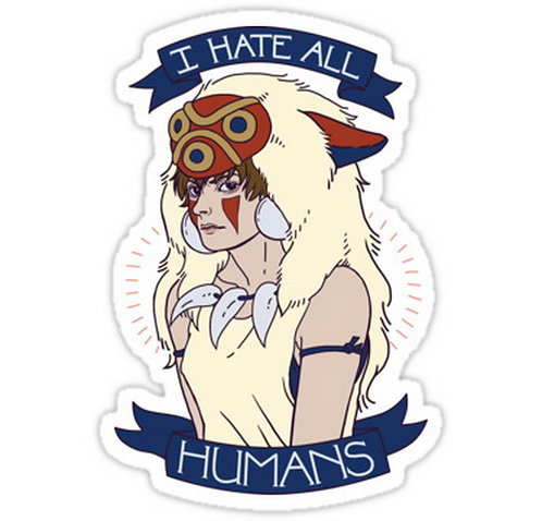 SRBB0585 I Hate All Humans anime sticker