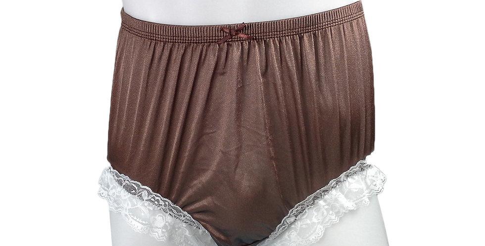 NQH01D01 Tan Brown New Panties Granny Briefs Nylon Handmade Lace Men Women