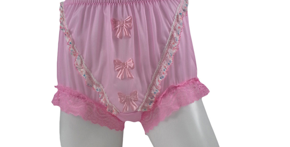 NNH06D08 Pink Handmade Panties Lace Women Men Briefs Nylon Knickers