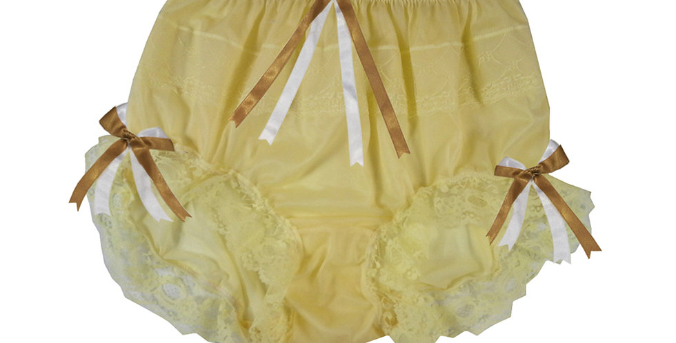 JYH18D03 Yellow Handmade Nylon Panties Women Men Lace Knickers Briefs