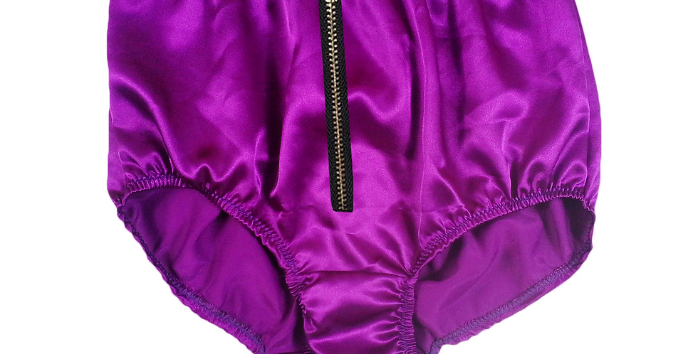 STPH03I02 Deep Purple Zipper New Satin Panties Women Men Briefs Knickers