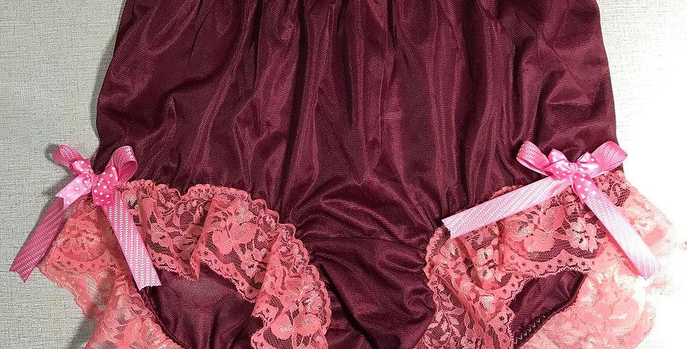 New Deep Red PlusSize Panties Sheer Nylon Brief Ribbon Lace Men Handmade NRRH02