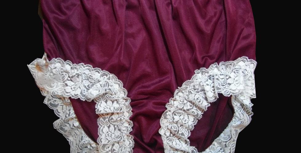 Deep Red Panties Underwear Nylon Brief Knickers Handmade Men White Lacy NVOD5