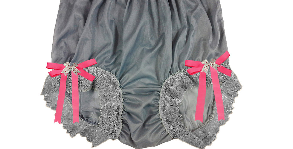NNH17D09 Grey Gray Handmade Panties Lace Women Men Briefs Nylon Knickers