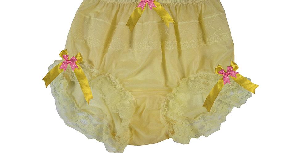 JYH18D04 Yellow Handmade Nylon Panties Women Men Lace Knickers Briefs