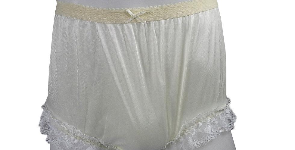 NYH01D05 Yellow Handmade New Panties Briefs Lace Sheer Nylon Men Women