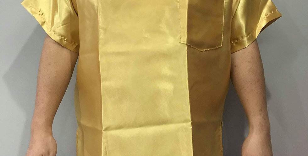 New Sissy Gold Shiny Satin Shirt Clothes Casual Men Gay Male Party STS16