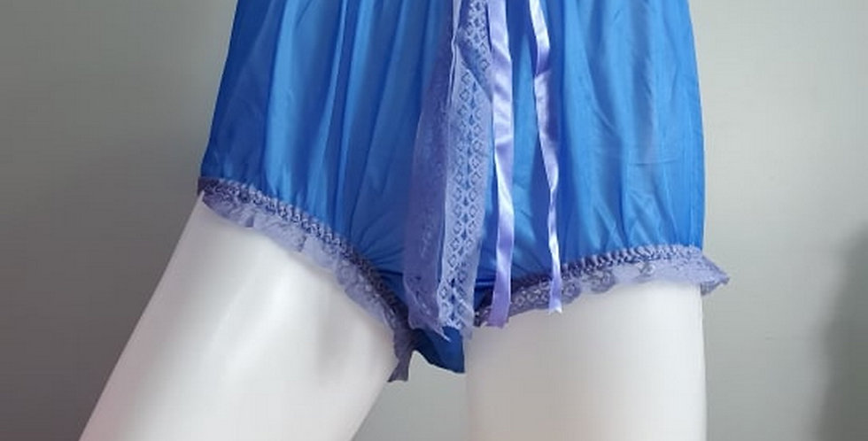 New Royal Blue Briefs Men Ribbon Lacy cheap nylon panties Handmade NH35D05