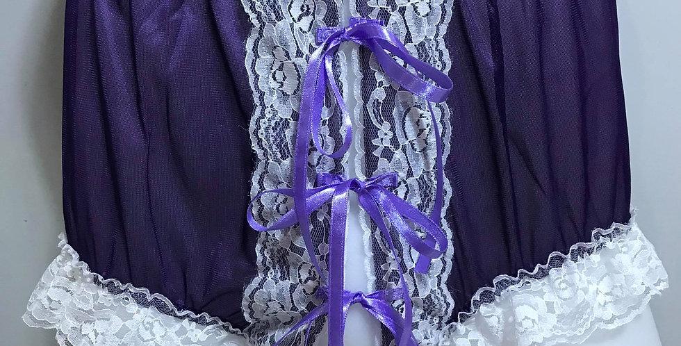 New Deep Purple Open Front Ribbon Nylon Lacy Panties Knickers Men Handmade RTN09
