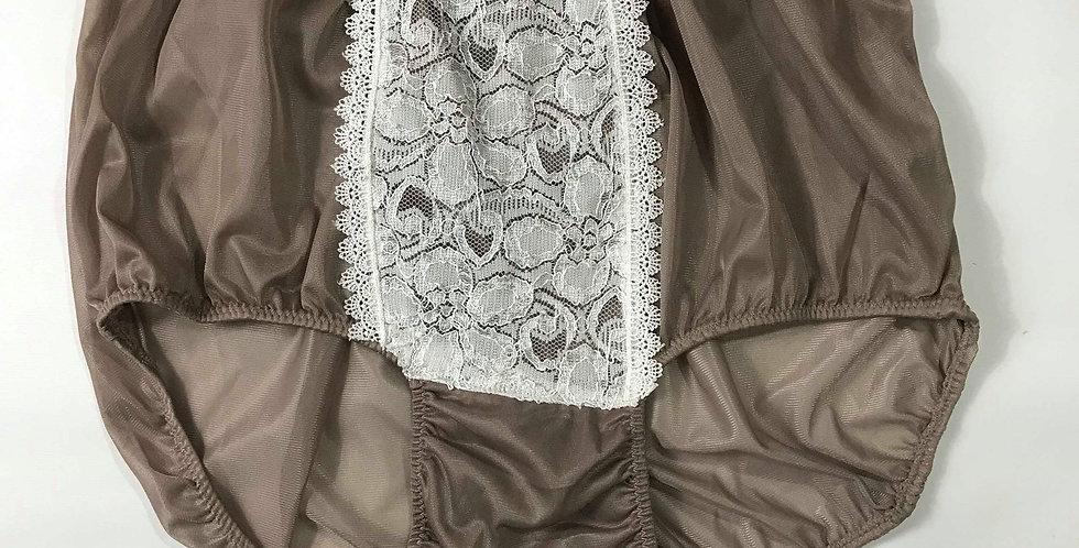 Khaki brown Underwear Nylon Panties Briefs Men Handmade Panel Maid Lacy NH29D03