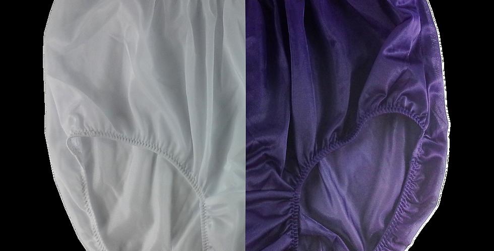 New White Deep Blue Full Cut TWO TONE Panties Nylon Brief Men Handmade Nwh+dbl20
