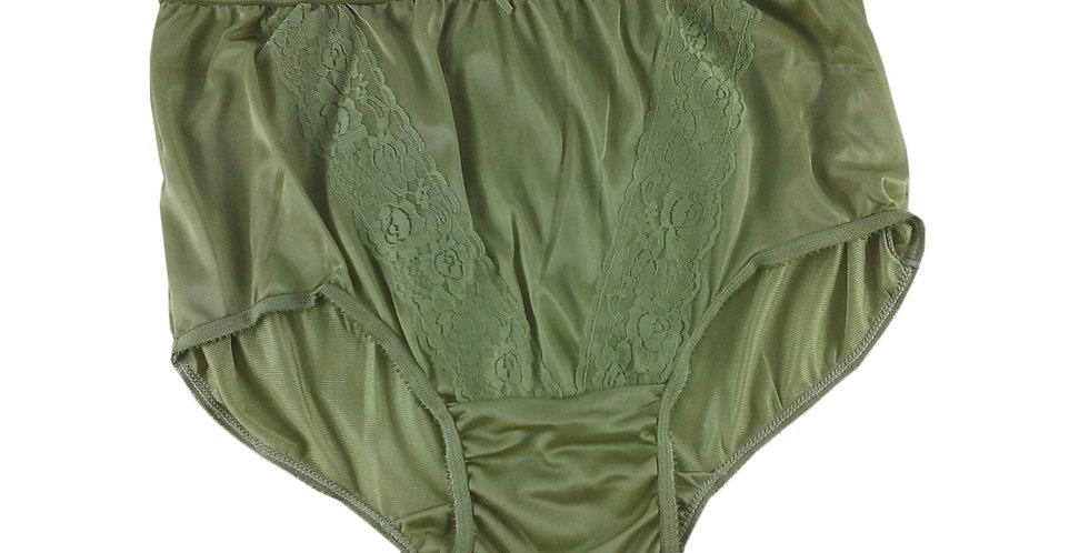 KJ04 Olive Green New Panties Granny Lace Briefs Nylon Underwear Men Women