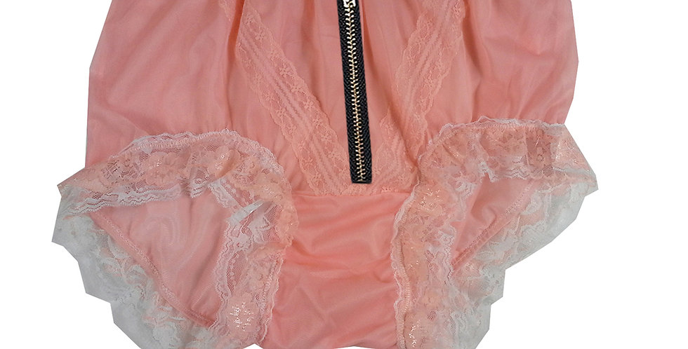 SSH23DI07 Orange Zipper Handmade Nylon Panties Lace Women Granny Men Briefs