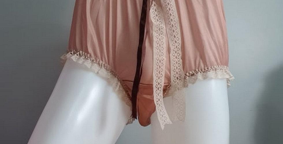 Fair Brown sheer nylon tricot Panties Briefs Men Ribbon Lacy Handmade NH35D04