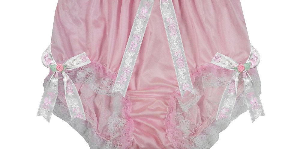 NQH22D11 Pink New Panties Granny Briefs Nylon Handmade Lace Men