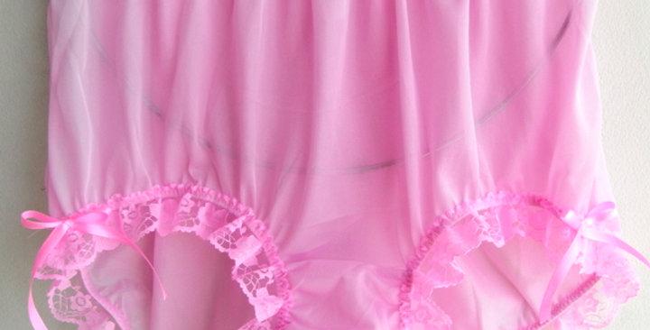 New Pink PlusSize Panties Nylon Brief Knickers Handmade Men Ribbon Lacy NVOD31