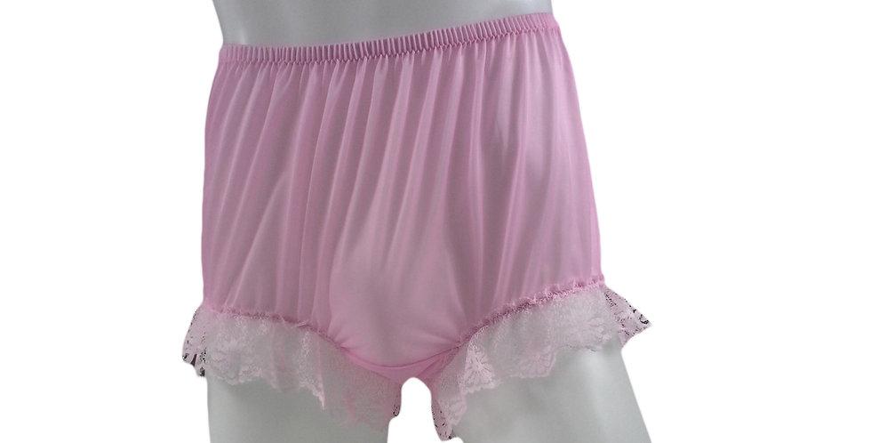 NNH04D07 Pink Handmade Nylon Panties Granny Briefs Lingerie Women Man