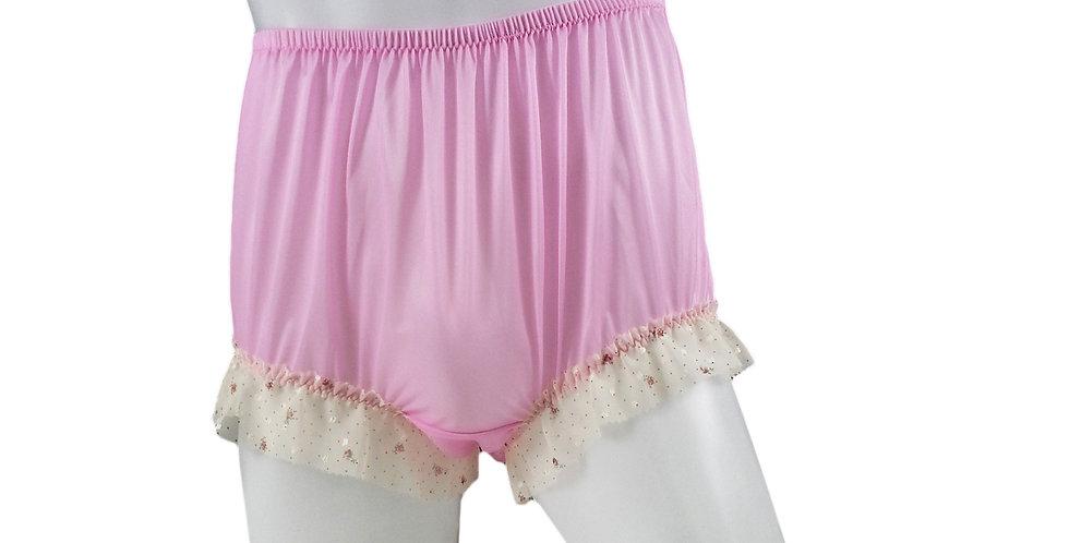 NNH04D13 Pink Handmade Nylon Panties Granny Briefs Lingerie Women Man