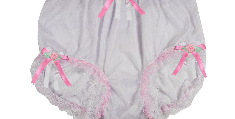 NNH22D64 White Handmade Panties Lace Women Men Briefs Nylon Knickers