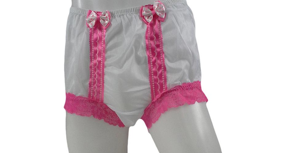 NNH06D15 White Handmade Panties Lace Women Men Briefs Nylon Knickers