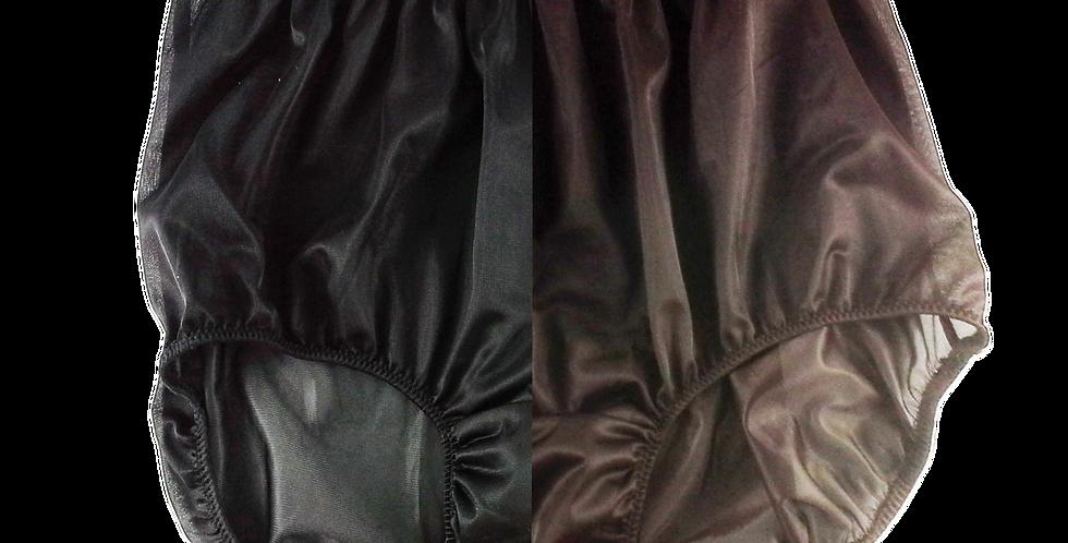 New Black Tan Brown TWO TONE Knickers Panties Nylon Brief Men Handmade Nbk+tbw03