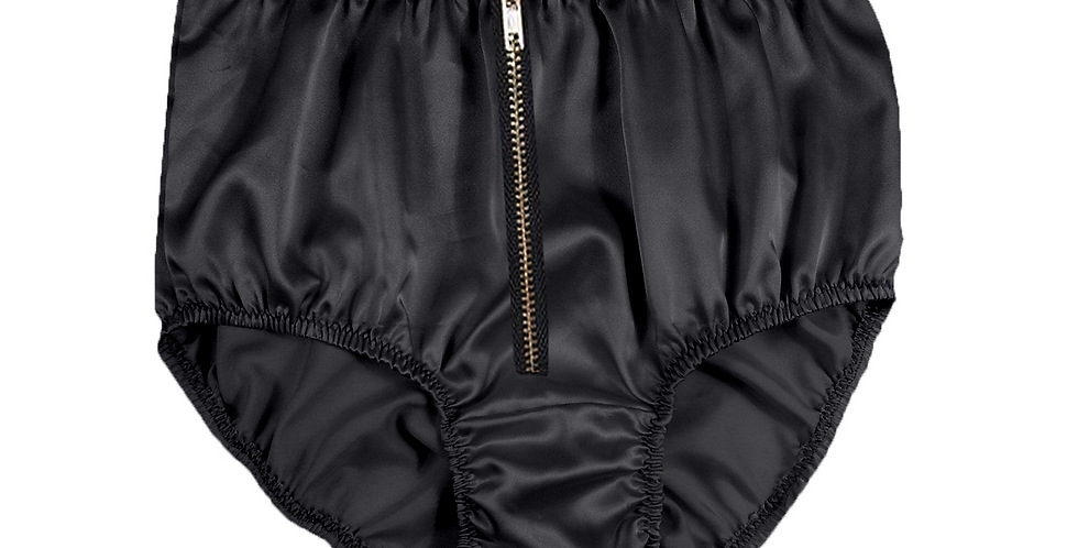 STPH03I01 Black Zipper New Satin Panties Women Men Briefs Knickers
