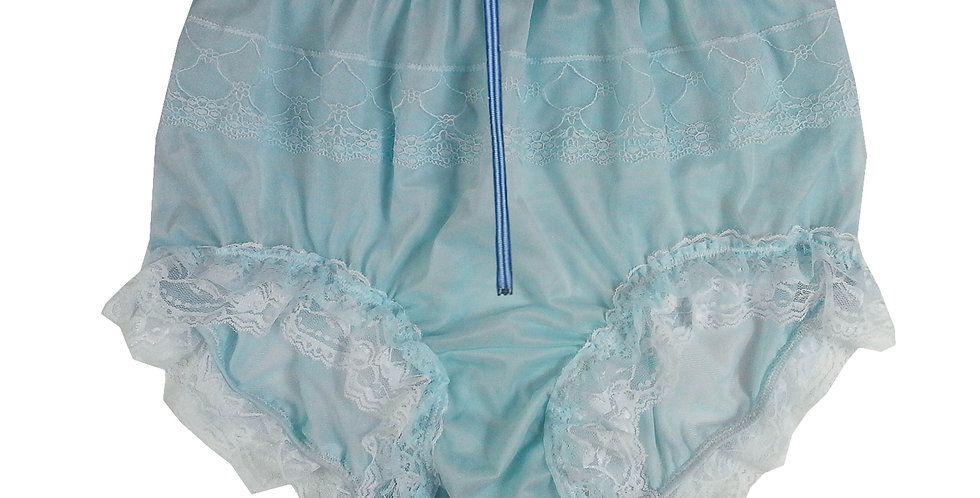 Blue nylon panties for men sexy lingerie with zipper Handmade Knickers Lace Trim