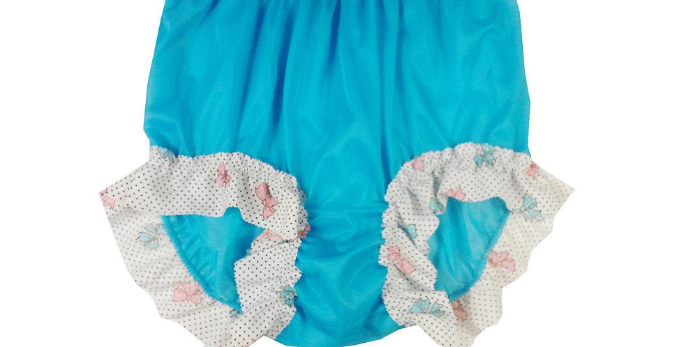 Light Blue Sheer Nylon Panties Knickers Briefs Men Handmade Cotton Lacy NNH27C07