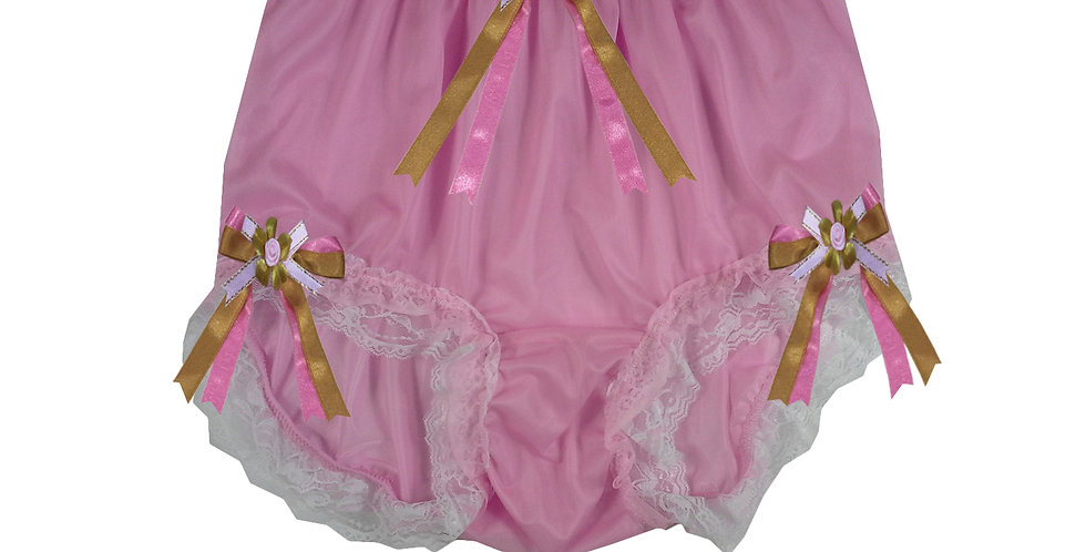 NNH22D50 Pink Handmade Panties Lace Women Men Briefs Nylon Knickers