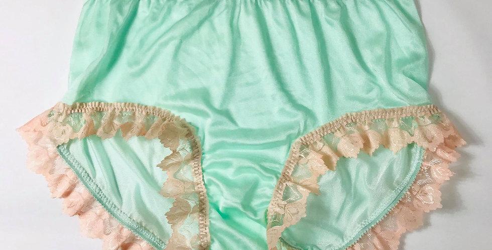 Fair Green Panties Hi-Cut Briefs Nylon Handmade Men Knickers Orange Lacy NYRH01