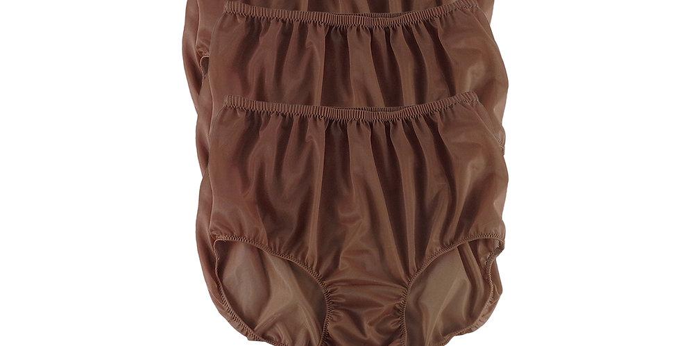 B7 TAN BROWN Lots 3 pcs Wholesale Women New Panties Granny Briefs Nylon