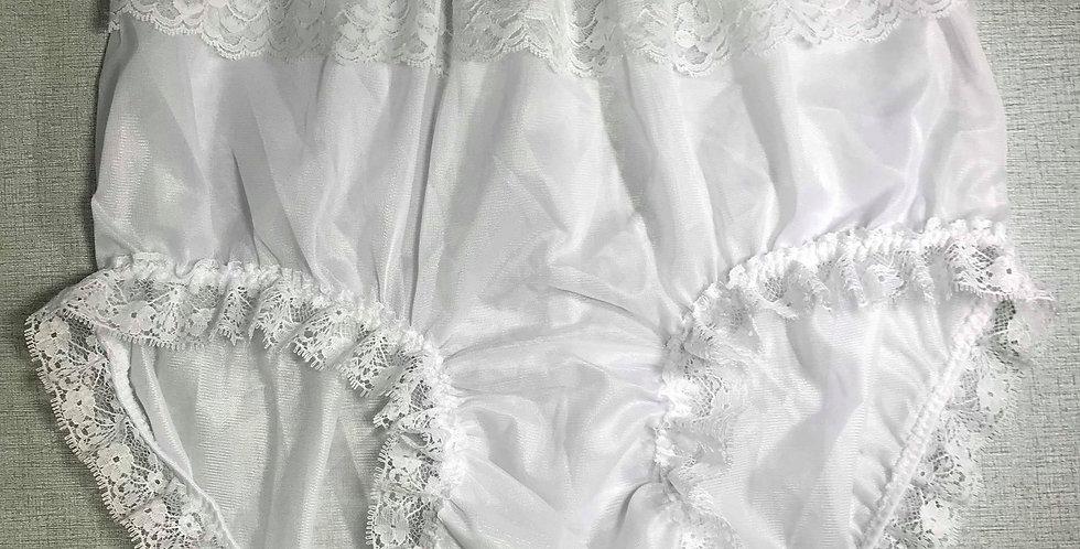 New White Nylon PlusSize Briefs Panel Lace Panties Knickers Men Handmade NRLP09