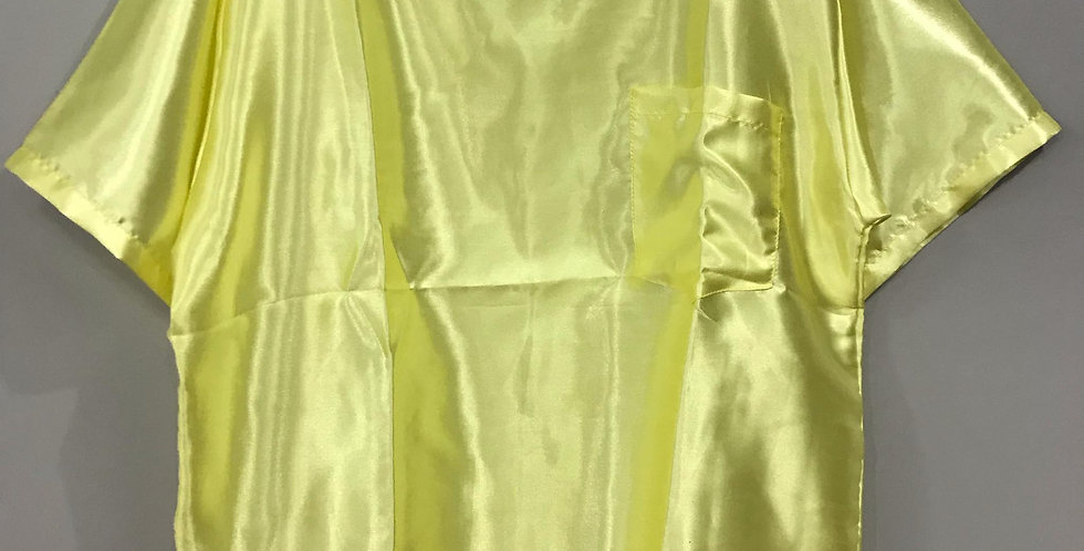 New Sissy Fair Yellow Shiny Satin Shirt Clothes Casual Men Gay Party Male STS03