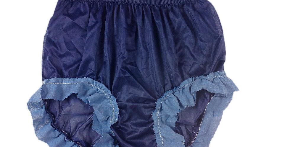 Newly Navy blue Granny Nylon Brief Panty Knickers Men Handmade Jean Lacy NJB