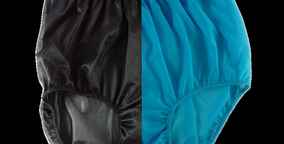 Black Light Blue TWO TONE High Cut Panties Nylon Brief Men Handmade Nbk+lbl08