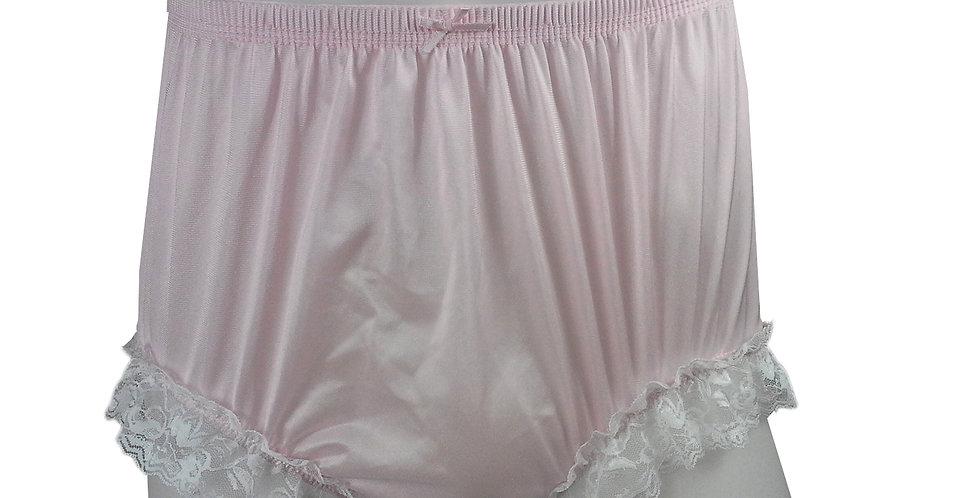 NQH01D13 Pink Panties Granny Briefs Nylon Handmade Lace Men Woman