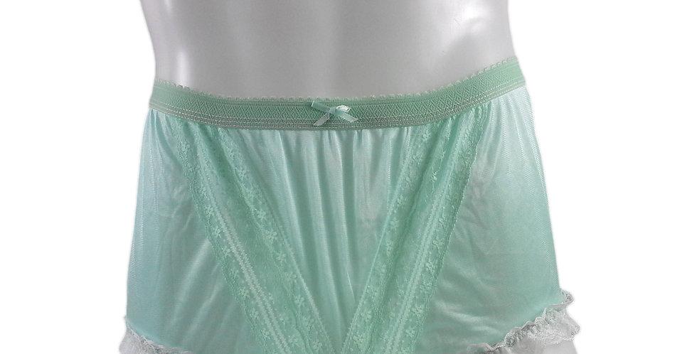 NLH02D01 Green Panties Granny Lace Briefs Nylon Handmade  Men Woman