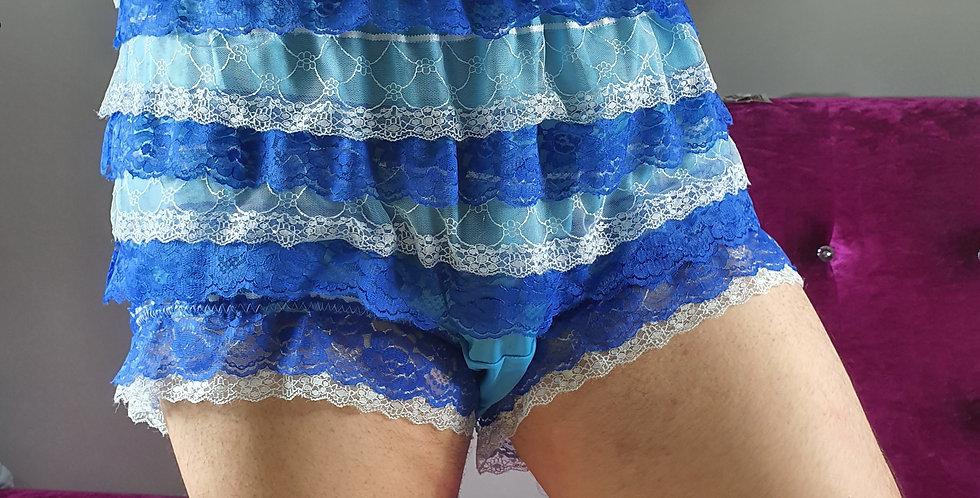 Light Blue Ruffle Frilly Nylon Briefs Men Lacy Panties Handmade Knickers RNOS01