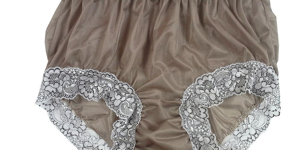 Khaki Brown Full Cut Nylon Brief Panty Knickers Men Handmade Waist Lacy NH26D