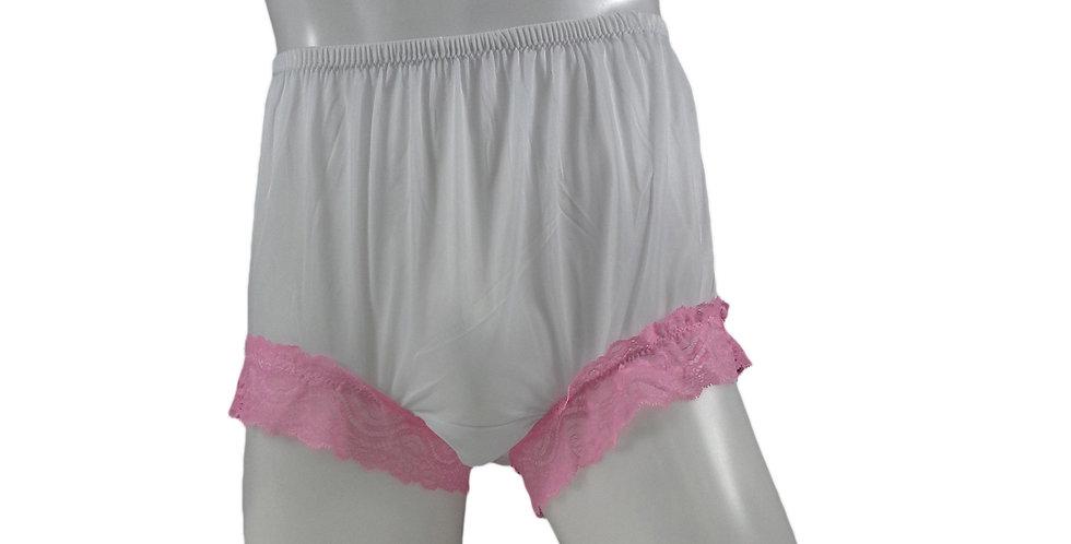 NNH04D19 White Handmade Nylon Panties Granny Briefs Lingerie Women Man