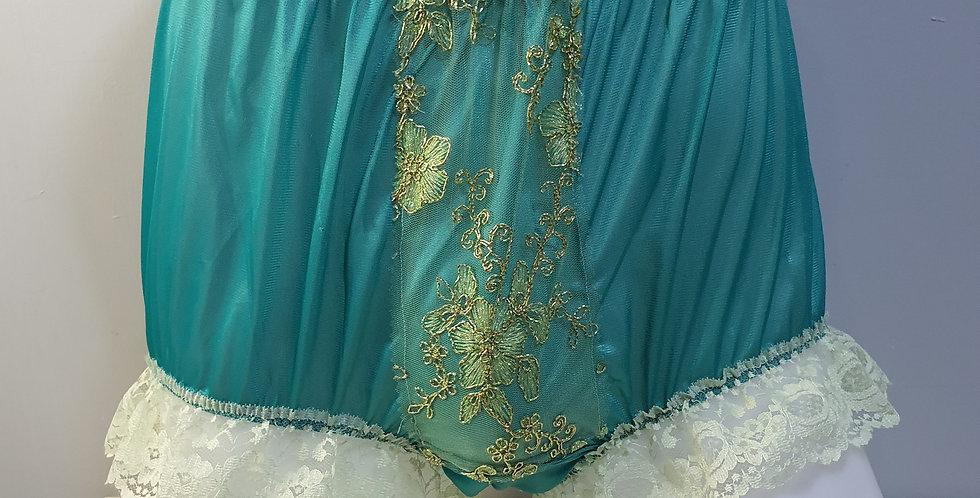 Green Sissy Granny Nylon Briefs Men Panel Lace Panties Handmade Knickers NPN04