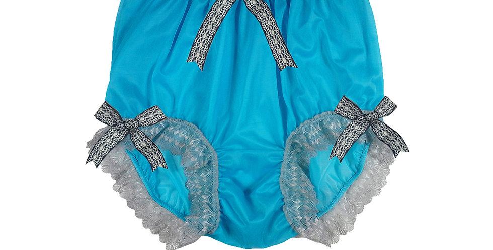 NNH18D09 Light Blue Handmade Panties Lace Women Men Briefs Nylon Knickers