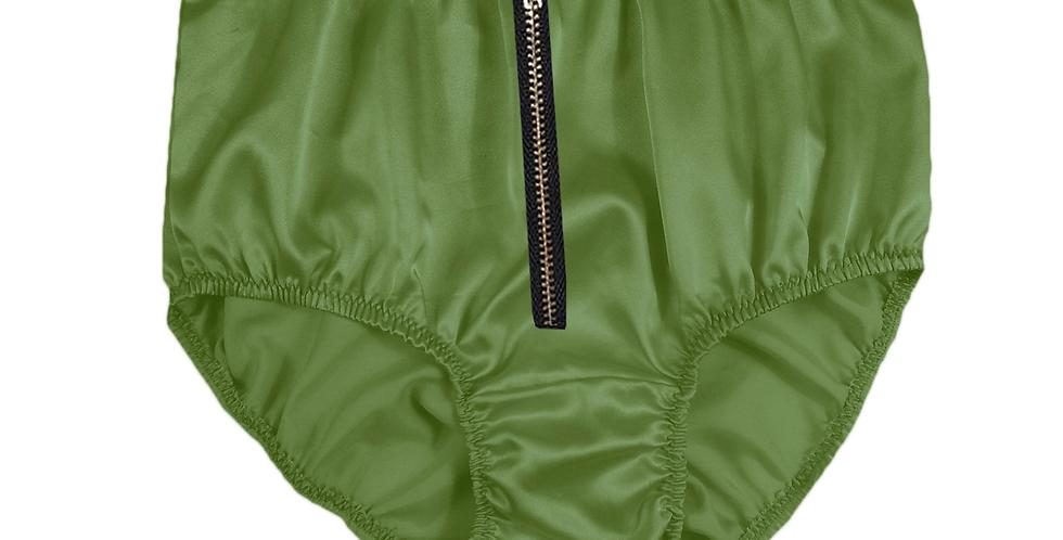 STPH03I10 Olive Green Zipper New Satin Panties Women Men Briefs Knickers
